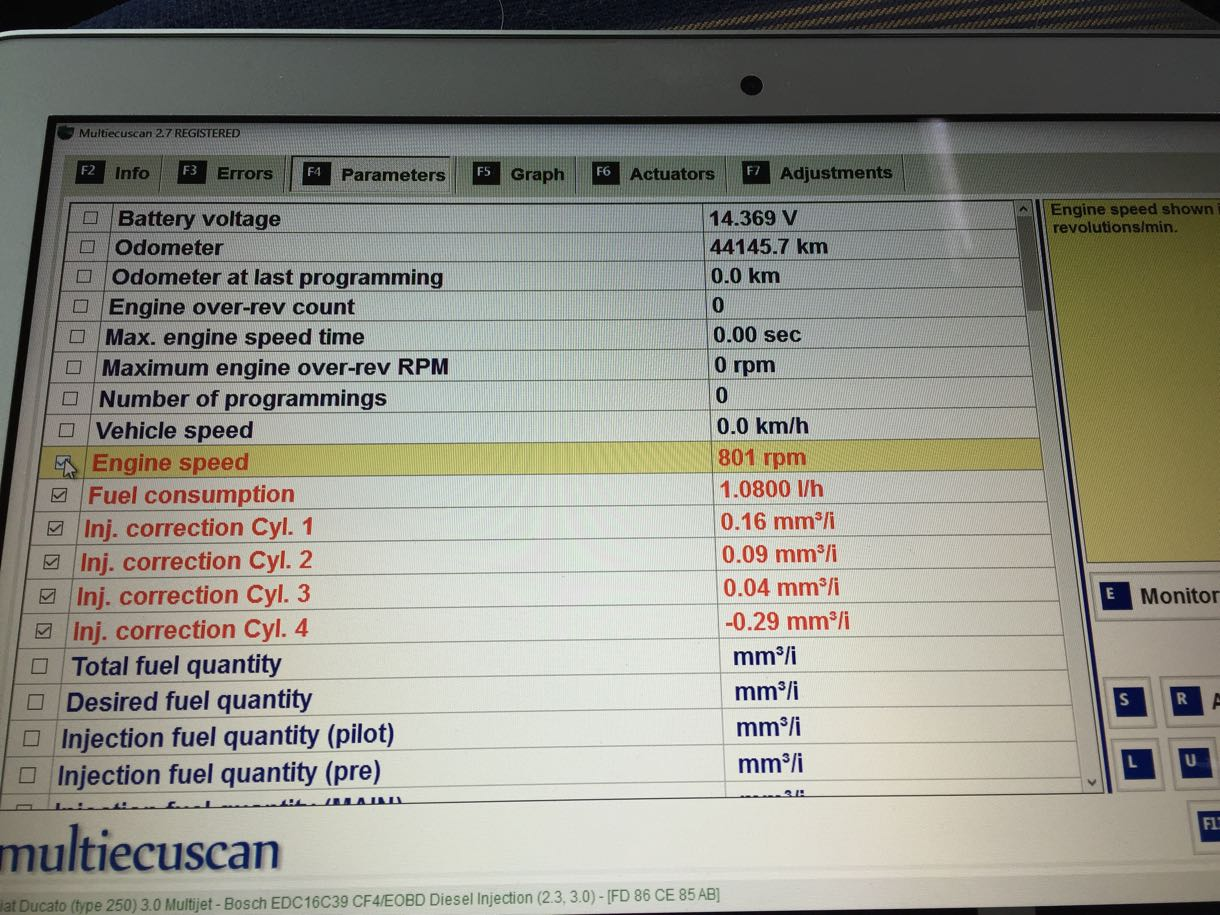 multiecuscanでインジェクターチェック