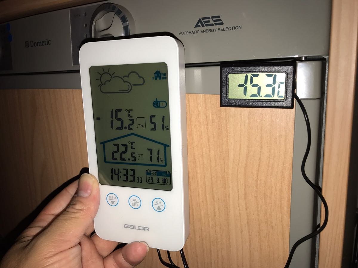 3way冷蔵庫の温度チェック
