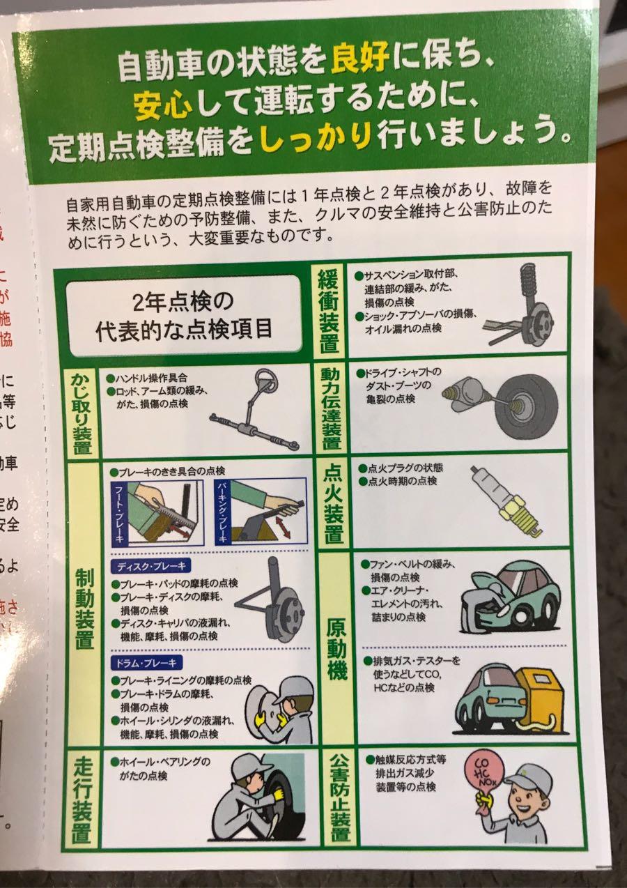自動車の定期点検整備のご案内について